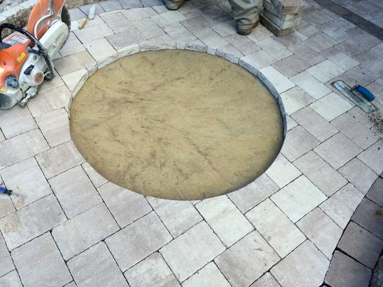 Cut opening for paver medallion