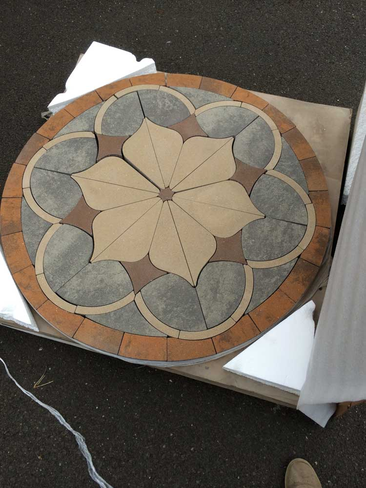 Assembled 4 feet paver medallion
