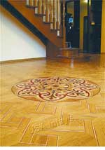 Floor parquet and wood medallion example