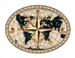 Inlays Hardwood Floor Products World Compass Oval Stone